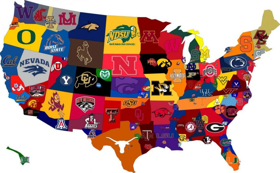 The most recognizable college from each state shown on a map of the U.S. Photo by Athnet.
