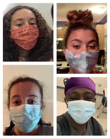 Many different masks are worn daily, but they all have one goal: to keep everyone healthy. Bella Chimienti (top left), MaKenna Conway (bottom left), Clarissa Davis (top right) Ulonnam Ukattah (bottom right.) Photo by: Jadeyn Higgins