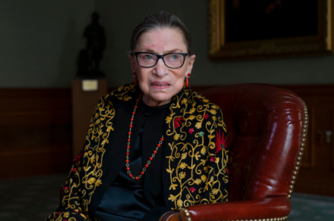 Ruth Bader Ginsburg in her chambers during a 2019 interview with NPR.  Photo by Shuran Huang.