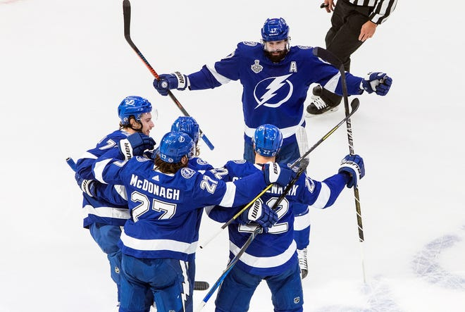 The Tampa Bay Lightning lead the Stanley Cup final series 2-1 against the Dallas Stars. Photo by: Jason Franson, AP.