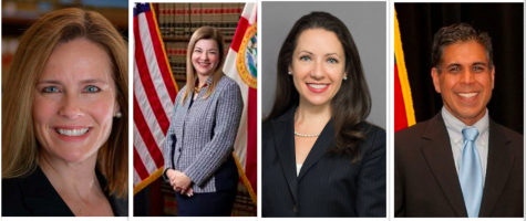 Potential candidates Amy Barret (far left)t, Barbara Lagoa (second to left), Allison Rushing (second to right), and Amul Thapar (far right). Photo credit: Notre Dame Law, HOGP, lambdalegal, SCOTUSblog
