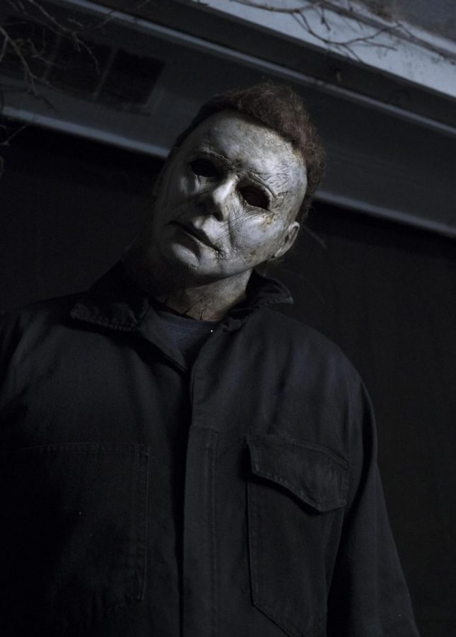 Michael+Myers%2C+from+the+horror+movie+movie+Halloween%2C+is+doing+his+infamous+head-tilt+that+is+featured+in+all+of+his+movie+appearances.+%0APhoto+by+Ryan+Green%2FUniversal