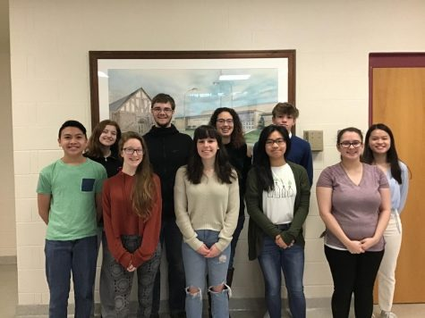 Central York High School's Scholastic Writing Contest 2019 South Central Pennsylvania Regional Winners. Includes (left to right) Emily McDevitt, Joshua Guilford, Kaylynn Keatigh, Garrison Pate, Victoria Huynh, Elijah Lieu, Lizzy Sterner, Novalea Verno, Vi Dao, and Emma Crumling. Photo by Erin McDaniel