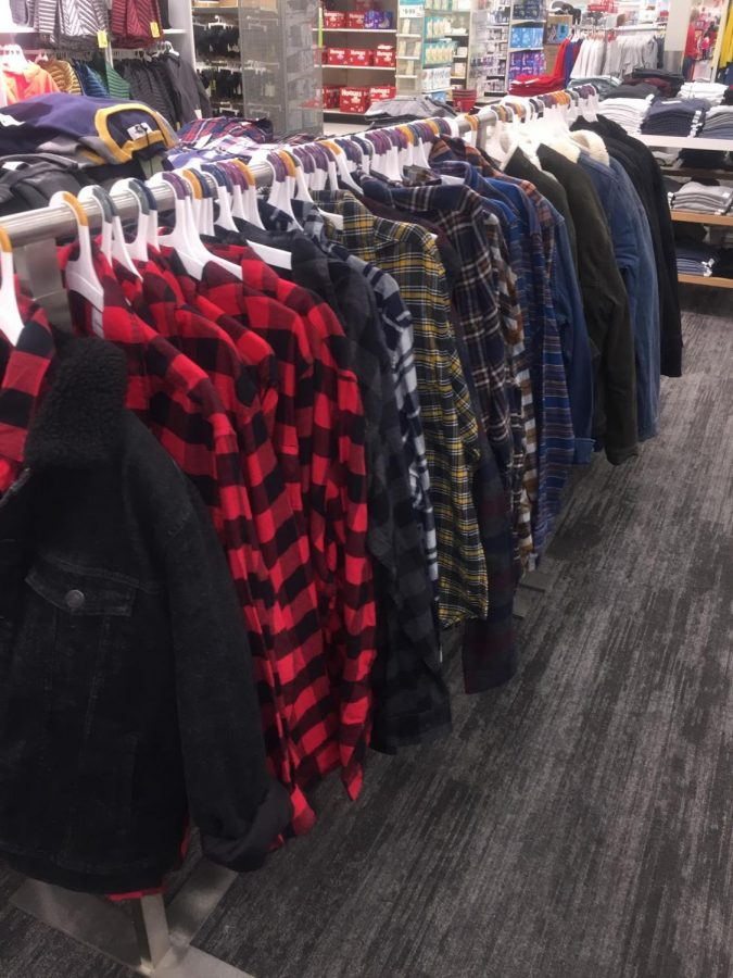 Flannels line the racks at Target.  Photo by Molly Klinedinst.