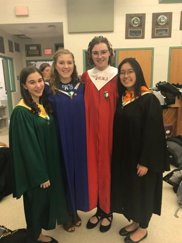 (Left to right) Emily Danczyk, Hope Allen, Zoe Kirkessner and An Lai at District Choir. Submitted by An Lai.