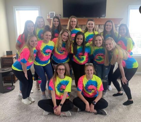 The 2020 MiniThon Captains gathered for an impromptu celebration of their efforts despite the eventual cancellation of the 12 hour March Dance Marathon. Students raised $132,120.20 for the Penn State Children's Hospital and the Four Diamonds Fund in Hershey, Pa. Photo from Beth Smith / Malerie Kelly.