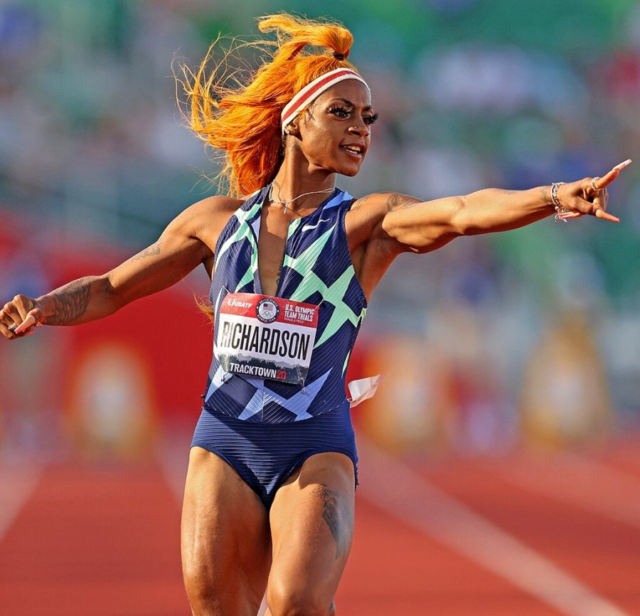 EUGENE%2C+OREGON+-+JUNE+19%3A+ShaCarri+Richardson+reacts+after+competing+in+the+Womens+100+Meter+Semi-finals+on+day+2+of+the+2020+U.S.+Olympic+Track+%26amp%3B+Field+Team+Trials+at+Hayward+Field+on+June+19%2C+2021+in+Eugene%2C+Oregon.+%28Photo+by+Patrick+Smith%2FGetty+Images%29
